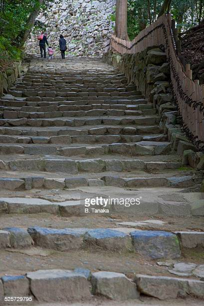 Stone Steps to Hikone Castle at Lake Biwa, Japan