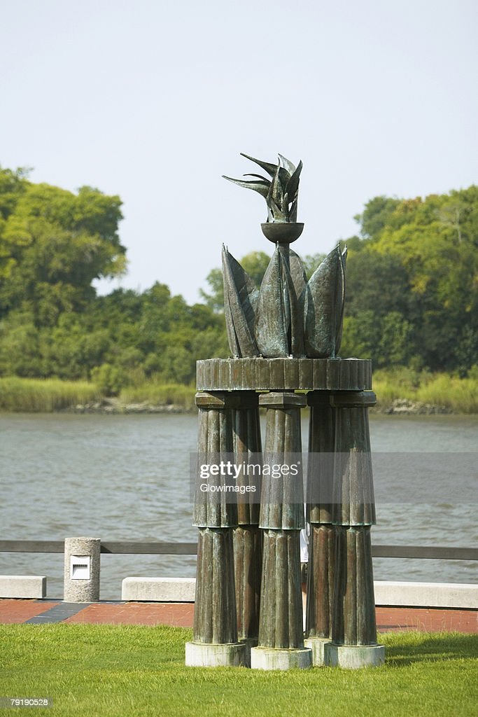 Stone structure at a lakeside, Savannah, Georgia, USA : Stock Photo