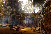 Stone structures and corridors at Ta Prohm.