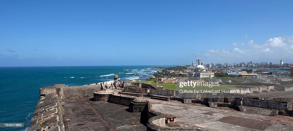Stone terraces overlooking ocean : Stock Photo