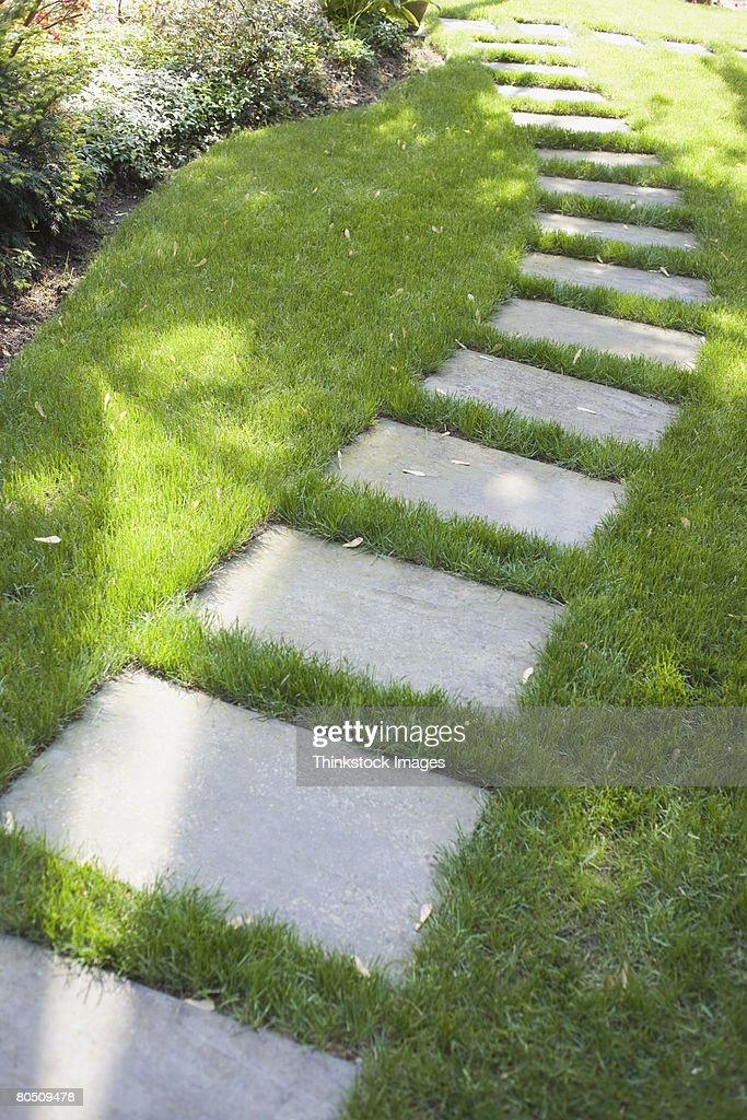 Stone walkway on lawn