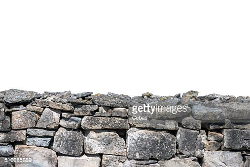 Stone wall isolated : Stock Photo
