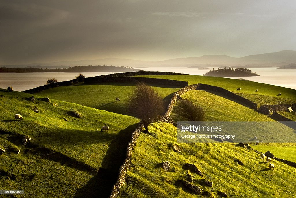 Stone walls on grassy rural hillside : Stock Photo