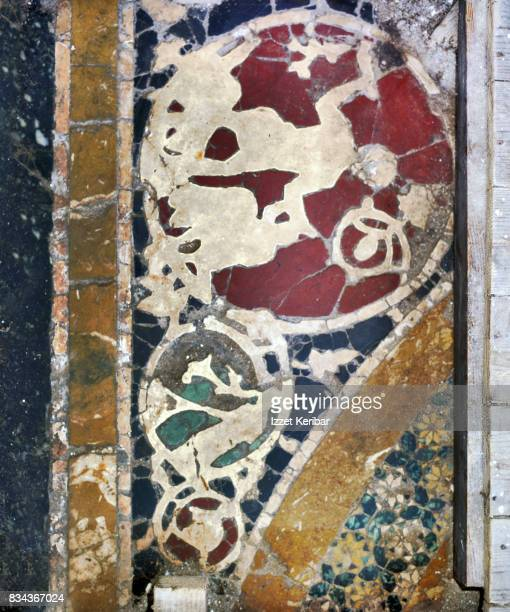 Stone work in the floor of old Byzantine Pantocrator Monastery, Samson slaying  the Philistines. Istanbul, Turkey