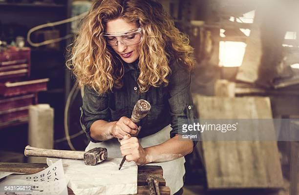 Stonecutter woman portrait