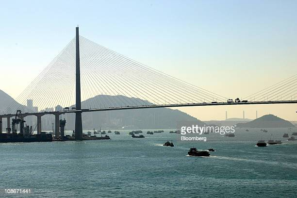 Stonecutters Bridge spans the Rambler channel in Hong Kong China on Friday Dec 17 2010 Modern Terminals Ltd is a container terminal operator based in...