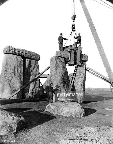 Stonehenge Amesbury Wiltshire 19191920 A view of a trilithon being reerected during LieutenantColonel Hawley's excavations and renovations in 1919...