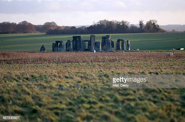 Stonehenge is seen on December 18 2013 in Wiltshire England English Heritage unveiled the new multimillion pound visitor centre at Stonehenge located...