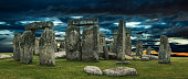 Stonehenge large panorama with cloudy sky