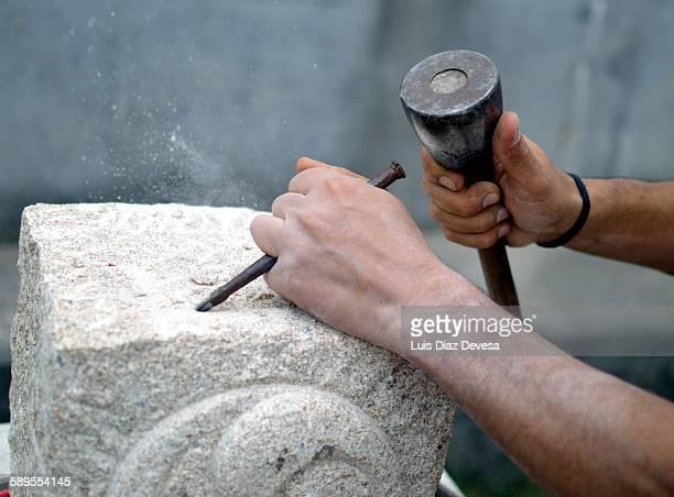 Stonemason working