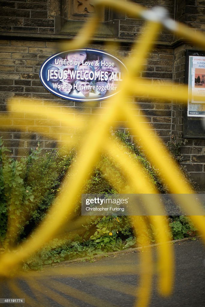 Stones Methodist Church decorates it's fence with cycles on the route of two as Yorkshire prepares to host the Tour de France Grand Depart, on June 24, 2014 in Sowerby Bridge, United Kingdom. The people of Yorkshire are preparing to give the riders of the 2014 Tour de France a grand welcome as the route of stages one and two are decorated with bunting, bikes and yellow jerseys The Grand Depart of the 2014 Tour De France is taking place in Leeds with the first two stages taking place across Yorkshire on 6th and 7th of July.