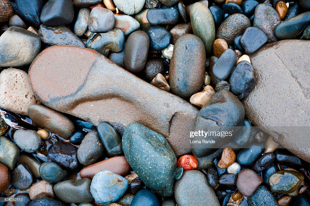 Stones on the beach; Lincoln City, Oregon, United States of America