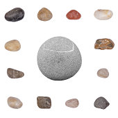 Collage with Various Stones Isolated on a White Background