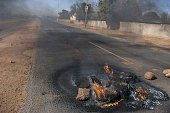 Stones that have been used to barricade a road are seen during a protest in Meyerton town of Guaeteng South Africa on July 22 2016