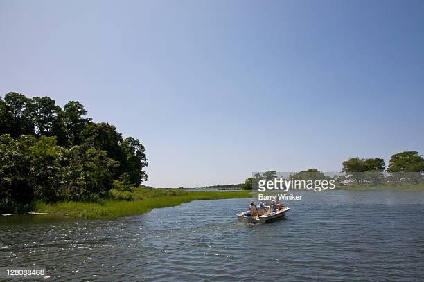Stony Brook Harbor with boat, Stony Brook, NY, U.S.A.