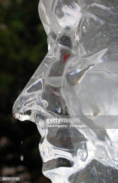 Stop Climate Chaos coalition launches its i Count Campaign by unveiling a 4ft high ice sculpture of Prime Minister Tony Blair's head which is encased...