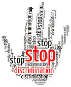 Stop Discrimination word cloud in the shape of a palm, isolated on white