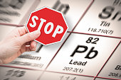 Stop heavy metals - Concept image with hand holding a stop sign against a Lead chemical element with the Mendeleev periodic table on background