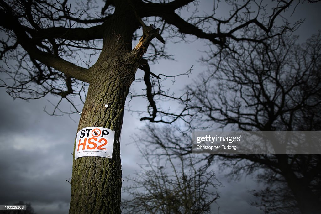 A 'Stop HS2' poster is fixed to a tree in the countryside surrounding the village of Middleton in Staffordshire on January 29, 2013 in Middleton near Tamworth, England. The government yesterday released details of the next phase of the GBP 32 billion HS2 high-speed rail network, which will link Manchester and Leeds.