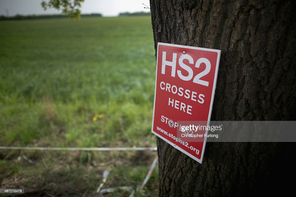 Stop HS2 posters mark the point where the proposed route of the new HS2 high speed rail link will pass through near to the village of Warburton on April 28, 2014 in Lymm, United Kingdom. The House of Commons will vote later today on the HS2 bill's second reading with 30 Conservative MPs threatening to vote against the Government's pro-HS2 stance.