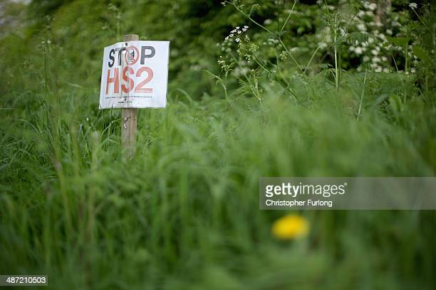 Stop HS2 signs mark the point where the proposed route of the new HS2 high speed rail link will pass through near to the village of Pickmere on April...