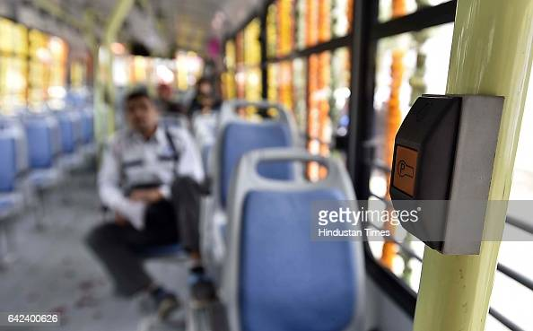Stop request alarm on display installed in 100 new cluster buses at Delhi Secretariat on February 17 2017 in New Delhi India