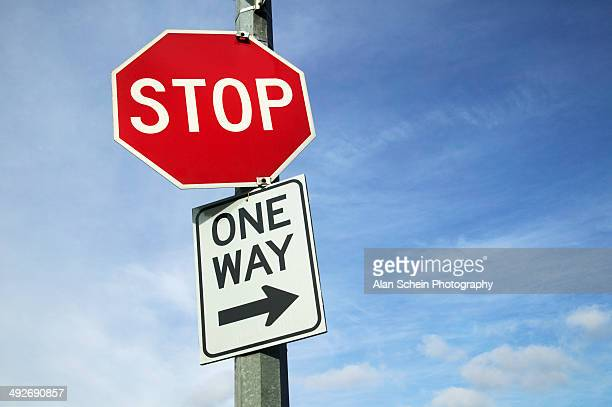 Stop Sign and One Way Sign