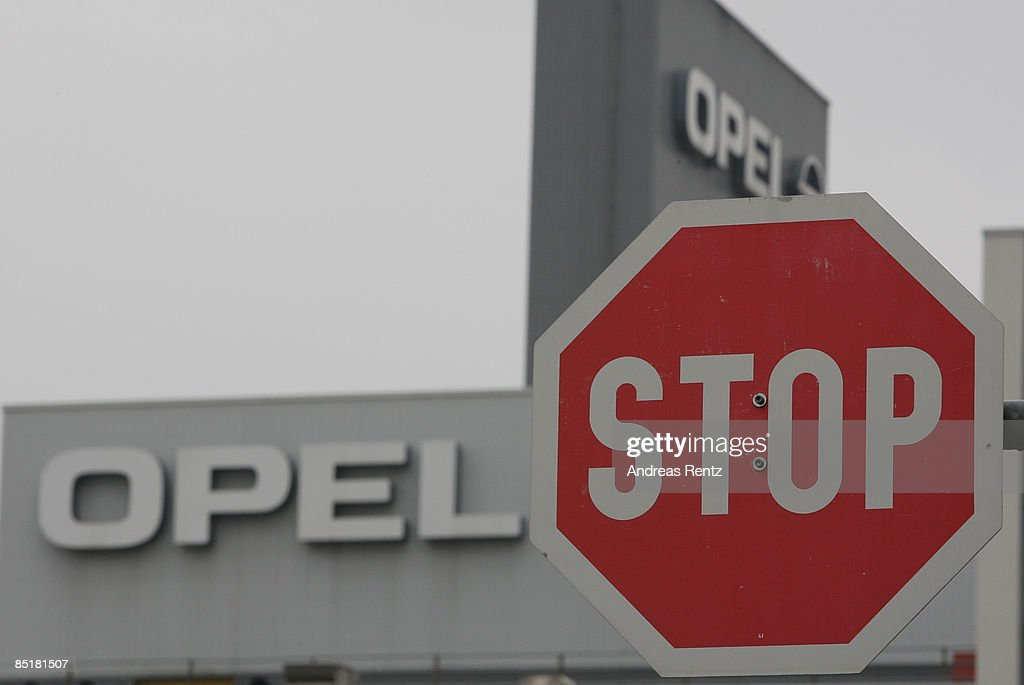 A stop sign is seen near German car maker Opel's plant on March 2, 2009 in Eisenach, Germany. Opel announces a business plan directed to the German government to substantiate the demand for subsidy. Opel needs a rescue package of 3.3 billion euros to stay solvent due to serious difficulties of GM.