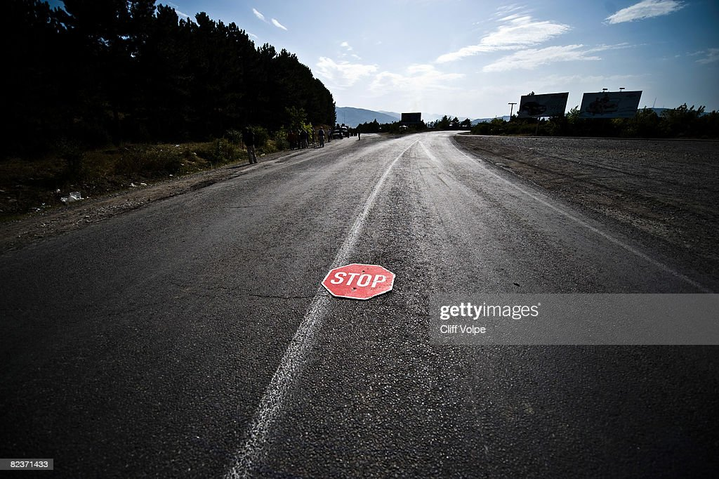 A stop sign marks a Russian roadblock August 15 2008 just outside Gori Georgia US Secretary of State Condoleezza Rice arrived in Tbilisi today to...