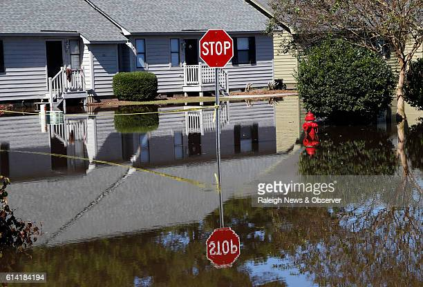 A stop sign reflected in the floodwaters at the Wyndham Circle duplex complex on Wednesday Oct 12 2016 in Greenville NC The units home to many East...