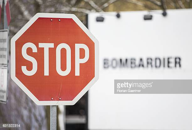 Stop sign stands in front of the plant of Bombardier on January 09 2017 in Bautzen Germany According to media reports Canadian train manufacturer...