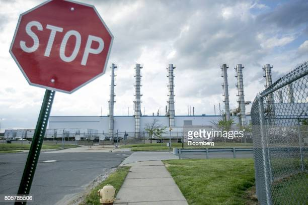 stop sign stands outside of the Fiat Chrysler Automobiles NV Jefferson North Assembly plant in Detroit Michigan US on Thursday June 22 2017 To lure...