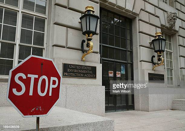 A stop sign stands outside the Environmental Protection Agency building on May 24 2013 in Washington DC The EPA is one of at least four federal...