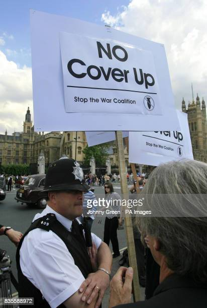Stop The War Coalition campaigners protest in Parliament Square London as they react to the statement Prime Minister Gordon Brown made earlier...