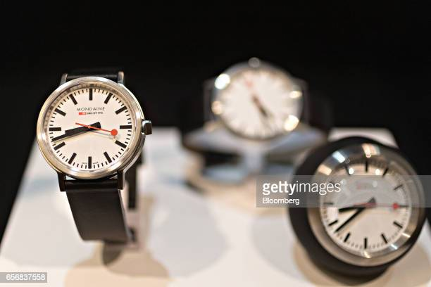 A stop2go official Swiss Railways model wristwatch produced by Mondaine Watch Ltd stands on display at the company's booth during the 2017 Baselworld...