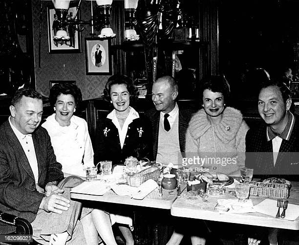 MAR 1962 MAR 18 1962 Stopping in the hotel's new English pub 'The Golden Bee' forsteak and kidney pie are Denverites Ivor Carl Peterson MTS Richard C...