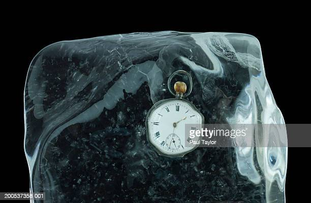 Stopwatch in block of ice