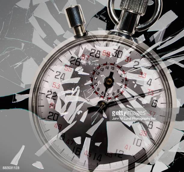 Stopwatch shattering glass