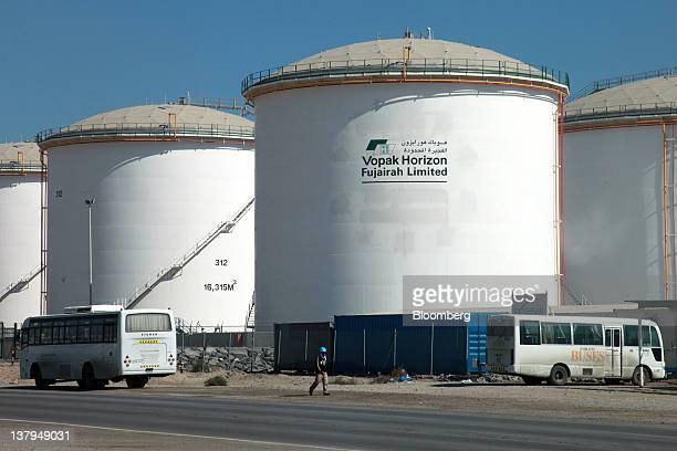 Storage containers operated by Vopak Horizon Fujairah Ltd are seen at Fujairah port in Fujairah United Arab Emirates on Friday Jan 27 2012 The Abu...