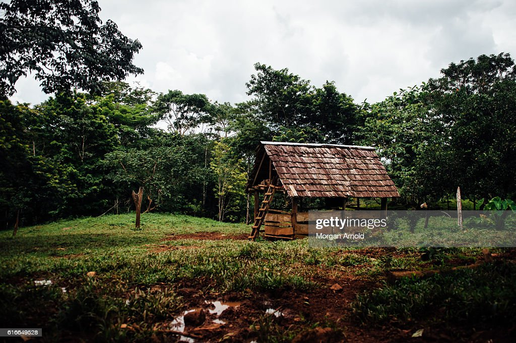 A storage shed found on a cacao farm in rural Nicaragua : Stock Photo