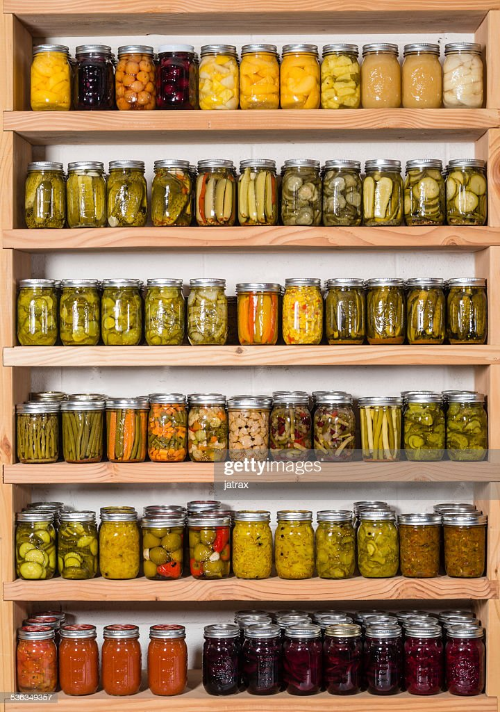 Storage shelves with canned food  Stock Photo & Storage Shelves With Canned Food Stock Photo | Thinkstock
