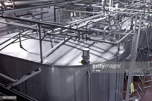 Storage tanks at a dairy processing plant