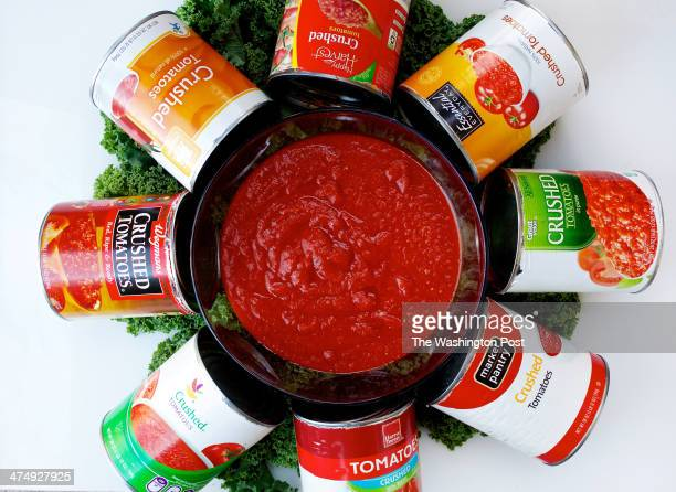 Store brand cans of crushed tomato sauce photographed in Washington DC Photo by Deb Lindsey/For The Washington Post via Getty Images