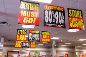 Store Closing and huge discount signs