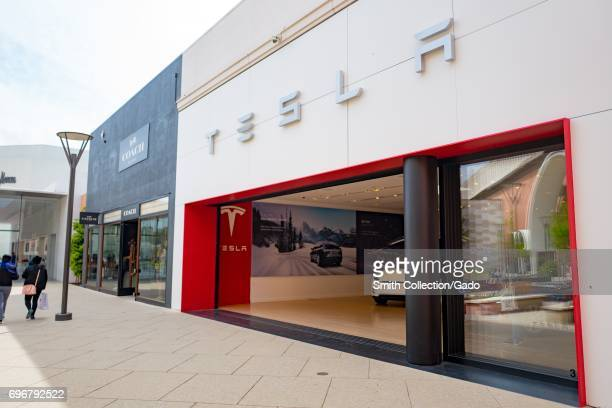 Store for automaker Tesla Motors at the Stanford Shopping Center an upscale outdoor shopping mall in the Silicon Valley town of Stanford California...