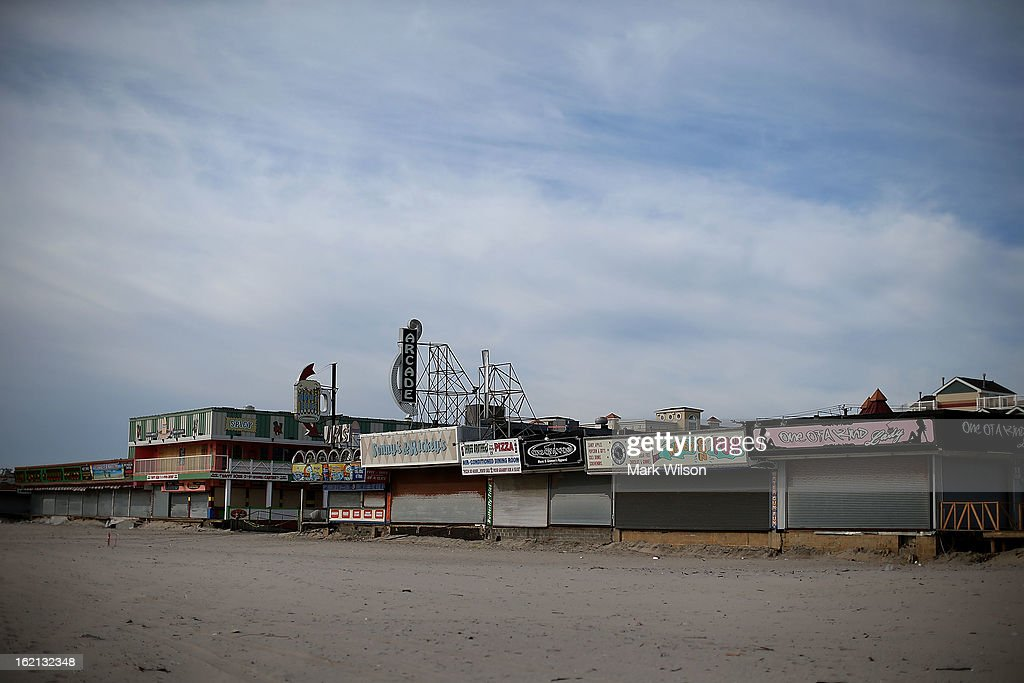 Store fronts remain closed unti the boardwalk that was damaged by Superstorm Sandy can be replaced, February 19, 2013 in Seaside Heights, New Jersey. Governor Chris Christie has estimated that damage in New Jersey caused by Superstorm Sandy could reach $37 billion.
