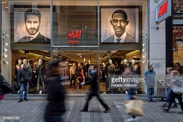 HM store in Hohe Strasse a main shopping street in Cologne Germany 10 November 2014 Hohe Strasse starts at the foot of the cathedral and leads into...