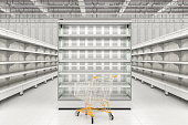 Shopping cart at refrigerator display in store interior. 3d render