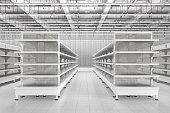 Store interior with empty supermarket shelves. 3d render