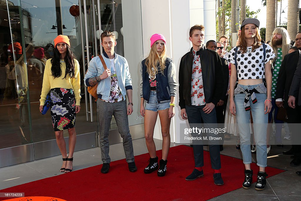 Store models attend the Topshop Topman LA Grand Opening at The Grove on February 14, 2013 in Los Angeles, California.
